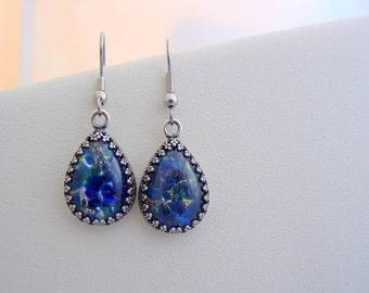 Sea Blue Fire Opal Vintage Glass Cabochon Crown  Earrings