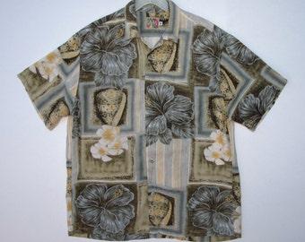 JAMS World Shirt Rayon Vintage Hawaiian Jams Tropical Sage Floral Shell Theme Mens M  / Surfer Beach Tropical Hawaiian Shirt size Medium