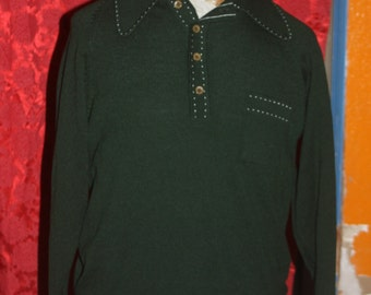 Vintage Green 50's 60's  Andros Mens Sweater L