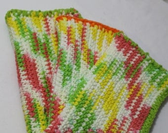 Set of 3 Hand Crocheted Cotton Dish Cloths, Salmon, Lime Green, Yellow, White