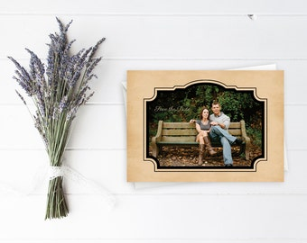 Vintage Style Save the Date Photo Postcard with Decorative Frame