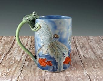 Coffee Cup, Handmade Pottery Mug, Blue Ceramic Mug, Butterflies, Frog, Dragonfly, Tea Cup, Tea Mug, Nature Inspired, Gift For Her - 797