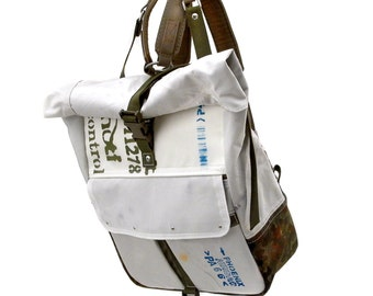 Vegan Backpack, White College School Backpack, Hipster Backpack Rucksack,Recycled Rucksack,Recycled Unused Car Airbag / Made in GERMANY-2187