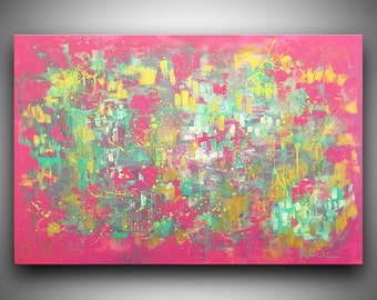 "Hand-Painted Original Acrylic on Canvas Pink, Teal, Gold, Purple, Green, White Abstract Painting by Robin Winningham 24"" x 36"""