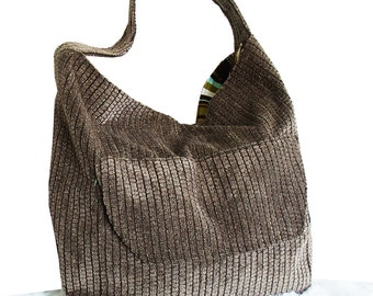 Chenille Handbag, Large Shoulder Bag with front pocket, grey brown hobo handbag, chenille & canvas slouchy hobo