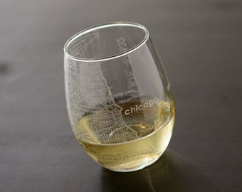 Chicago Maps Stemless Wine Glass