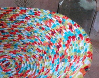 Bright Colored Coiled Fabric Basket - LARGE - Hot Colors, Organizer, Catchall, Handmade by Me
