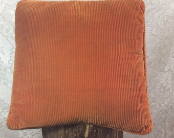 Vintage Rust Orange Ribbed Pillow