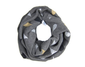 Rainstorm Infinity Scarf - Hand Printed Sweatshirt Fleece Circle Scarf in Heather Grey Gold White and Black