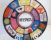 "Jewish Family-Themed 12-inch Round ""Mishpacha"" Glass Serving Plate cutting Board"