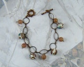 Glass Balls Bracelet Copper Tone Beauty Beautiful Colored Round Beads Bracelet - PLUS Bonus!