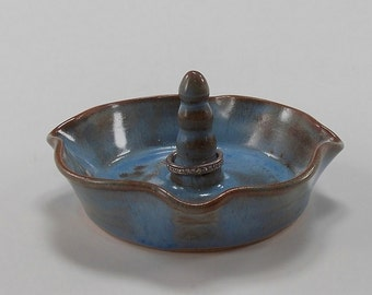 Baby Blue with Brown Ring Holder