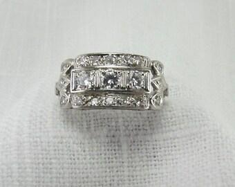 On Sale!  Appraisal Value 6,600 Circa 1950 Platinum and Diamond Band
