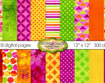 18 Digital Festive Colors Paper Pack *** Instant Download***