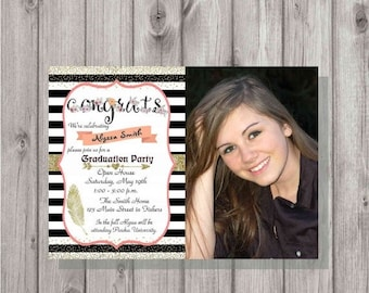 ON SALE Digital Gold Glitter Floral Congratulations Photo Graduation Party Invitation Printable