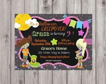 DIGITAL Halloween Slumber Party Glitter & Chalkboard Birthday Girl Party Invitation