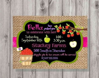 ONSALE Digital Chalkboard & Burlap Style Girl Apple Orchard Picking Birthday Party Invitation Printable