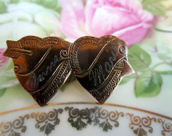 Antique Victorian Double Heart Brooch Engraved Names Anna and MArie