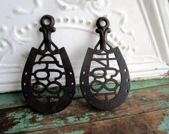 Antique Cast Iron lot of 2 Horse shoe Trivets 1884/1880 Primitive Rustic