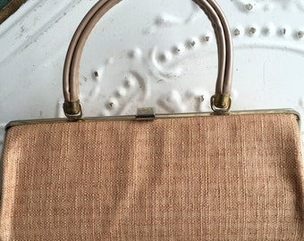 Vintage 60's Linen and pearl Vinyl Purse Barrel style Summer And Spring