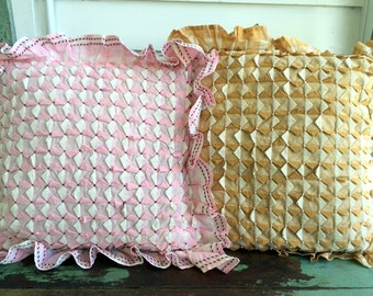 A set of 2 Gingham Smocked Pillows Pink Gold Striped Pearl beaded Feather pillow
