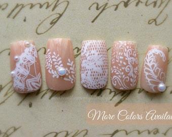 Black or White Chantilly (Medium/Large) Bridal Wedding Fake Nail- Japanese Nail Art-Fake False Nails Pearls-Lace-Press On Nail- Bridal Nails