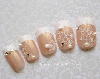 Bridal Nail Art- White Floral French Wedding Nails