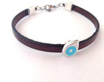 Evil eye bracelet - brown leather  - blue eye  - protection - Greek jewelry - Greek mati - Gift for her or for him
