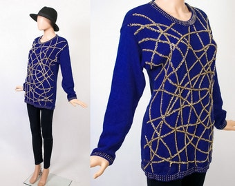 Embellished Sweater 80s Glam New Wave 1980s Beaded Pullover Knit Tunic Tacky Sweater Christmas Sweater Ugly Holiday Sweater Party Medium