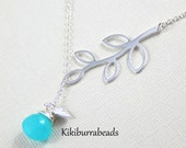 Lariat Necklace With Sterling Silver Branch and Chalcedony, Sterling Silver, Sterling Silver Lariat