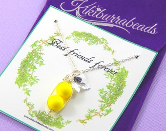 Peas In A Pod,Two Peas In A Pod Necklace, Best Friends Neon Yellow pea pod Necklace, Friendship Necklace, Best Friends Jewelry