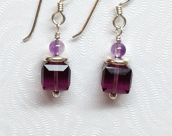 Purple Cube Earrings, Swarovski Cube Bead Earrings, Amethyst Earrings