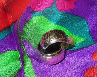 Sam Sampson Native American 14k Yellow Gold Sterling Silver Earrings Hoop Pierced