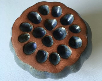 Periwinkle Purple  Red Clay Lotus Seed Pod Ceramic Ornamental Rattle 3