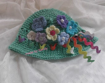 Crochet Spring Flower Garden Hat  3-6 months baby girl - ready to ship - one and only