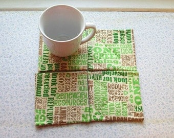 reduce recycle hand quilted set of mug rugs coasters