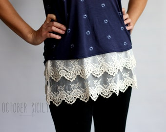 T2- Lace Top Shirt Extender *Style 2*  3 colors 5 sizes, XS-3XL