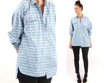 vintage 80s CHAMBRAY graphic TEXT oversized blouse S-L