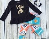 Girls Wild and Free legging set - from Mellon Monkeys