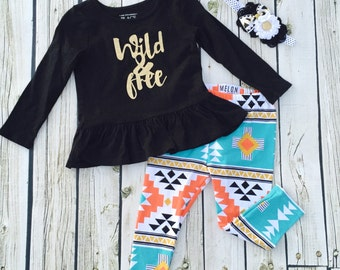 Girls Wild and Free legging set - from Mellon Monkeys
