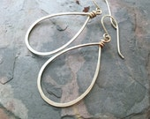 Large Teardrop Sterling Silver Hoops. SALE Hand Hammered Shiny Large Silver Hoops.