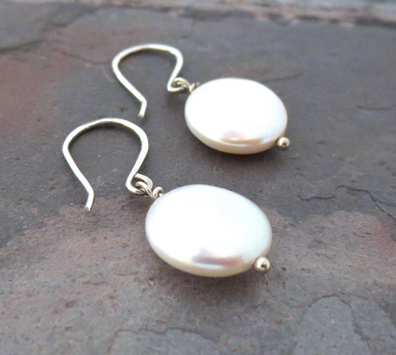 Pearl Earrings. Sterling Silver White Coin Pearl Earrings.
