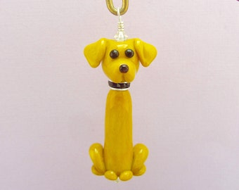 Labrador Retriever Christmas Ornament - Lampwork Glass Bead SRA