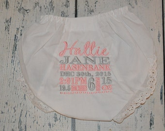 Personalized Birth Stat Baby Bloomer - Newborn Diaper Cover Photo Prop