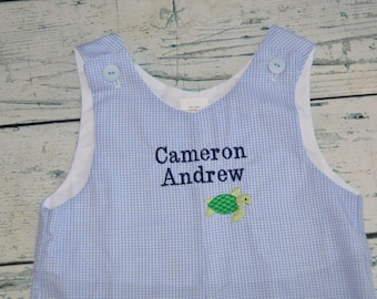 Custom Boutique Boys Shortall Monogram Personalized First and Middle Name with mini design