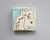Cat Art, Small, Cat Loves Rat Mini Wall Art with Red Hearts, White and Blue Ceramic Wall Tile, Home Decor, Animal Art Pottery