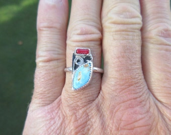Western Sterling Silver Turquoise and Red Coral Shell Ring - Size 9 1/2