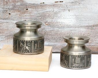 Vintage Norwegian Pewter Candle Holders Norway Tinn Viking Ship Medieval Scandinavian