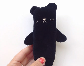 Stuffed bear toy, teddy bear, plush bear toy, black bear plushie, black bear toy, velvet bear toy, soft toy bear, handmade teddy bear
