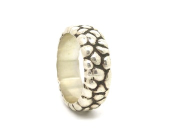 Sterling Silver Ring Band Free Form Carved Casting Unisex size 9